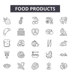 food products line icons signs set vector image