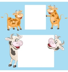 funny cow with posters vector image