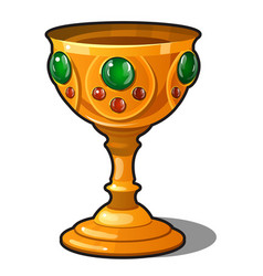 Golden goblet encrusted with precious stones vector