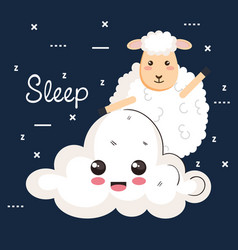good night sleep cartoon sheep animal cloud vector image