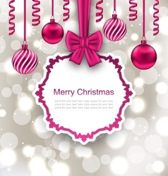 Greeting Paper Card with Bow Ribbon and Christmas vector