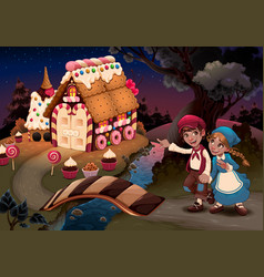 Hansel and gretel near candy house vector