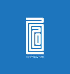 Happy new year 2020 minimalist calendar or vector