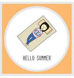 Happy summer girl1 vector