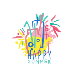Happy summer logo template label for summer vector