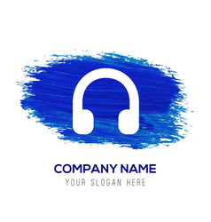 Headphone icon - blue watercolor background vector