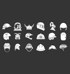 Helmet icon set grey vector