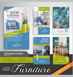 Home furniture instagram stories template vector