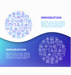 Immigration concept in circle with thin line icon vector
