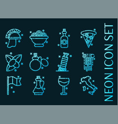 italy set icons blue glowing neon style vector image