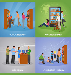 library icons set vector image