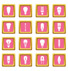 light bulb icons pink vector image