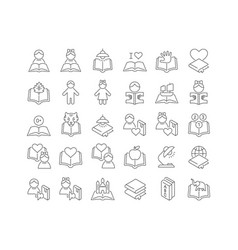 Line icons children book day vector