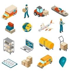 Logistics Transportation Symbols Isometric Icons vector