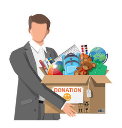 man donation box toys books clothes devices vector image