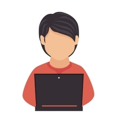 Man laptop computer technology education icon vector