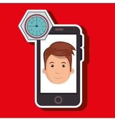 Man smartphone applications watch vector