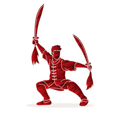 Man with swords action kung fu pose graphic vector