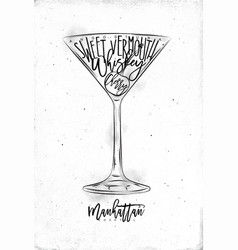 Manhattan cocktail vector