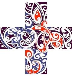 Maori style cross shape vector image