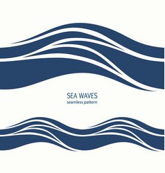marine seamless pattern with stylized blue waves vector image