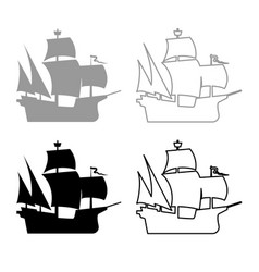 medieval ship icon outline set grey black color vector image
