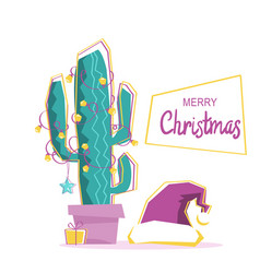 Merry cactus merry christmas greeting card with vector