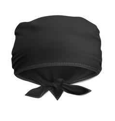 Mock up black bandana buff for head vector