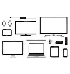Modern smart tv computer monitor laptop tablet vector
