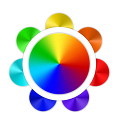 multicolored button on white background vector image