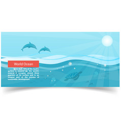 ocean banner with dolphins fish jellyfish vector image