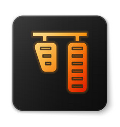 Orange glowing neon car gas and brake pedals icon vector