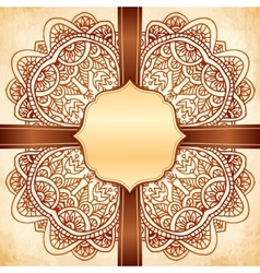 Ornate vintage background with brown ribbon vector image