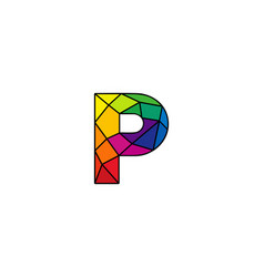P colorful low poly letter logo icon design vector