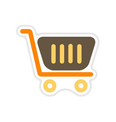 Paper sticker on white background market cart vector