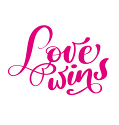 phrase love wins on valentines day hand drawn vector image