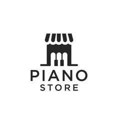 Piano store logo design vector