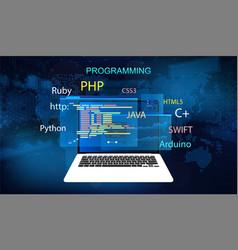 Programming concept banner vector