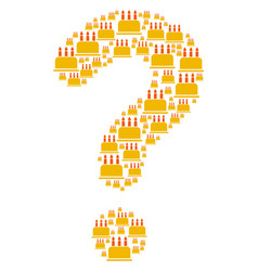 Question composition of birthday cake icons vector
