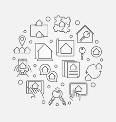 real estate outline circular vector image