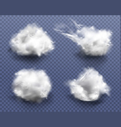 Realistic cotton wool clouds or wadding balls set vector