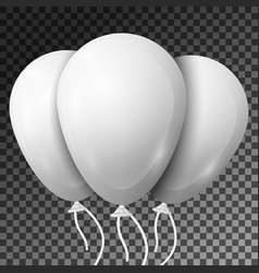 realistic white balloons with ribbons isolated vector image