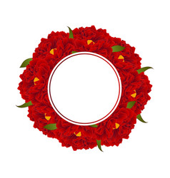 red peony flower banner wreath vector image