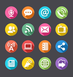 round flat solid shadow communication icons vector image