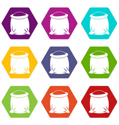 sack full of flour icon set color hexahedron vector image