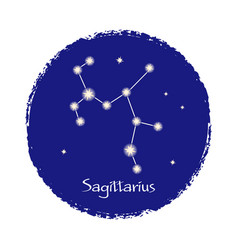 Sagittarius constellation sign on dark vector