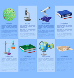 school subjects poster with detailed information vector image