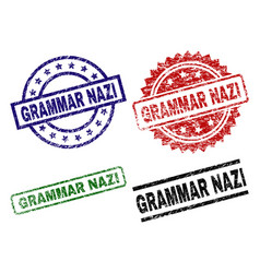 Scratched textured grammar nazi stamp seals vector