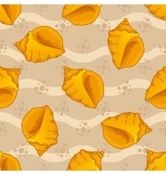 Seamless patterns with seashells vector image
