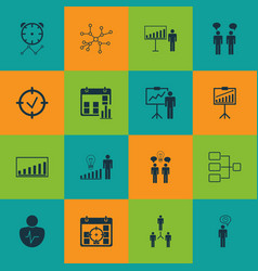 set 16 administration icons includes company vector image
